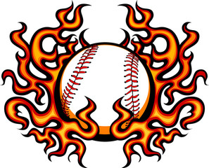 Baseball Template with Flames