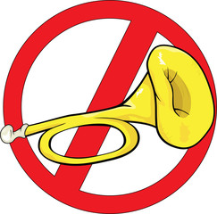 traffic sign horn illustration. Cartoon