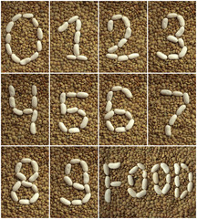 Beans numbers on the lentils background