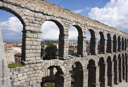 Ancient Roman Acqueduct in Segovia, Spain