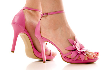 Pink High Heel Shoes and Female feet
