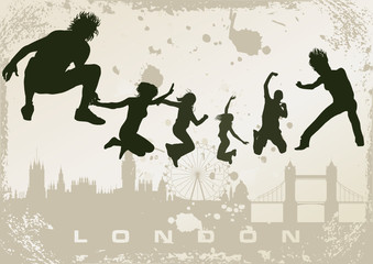 grunge London postcard - vector illustration