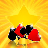 Card games casino background with shining lucky star