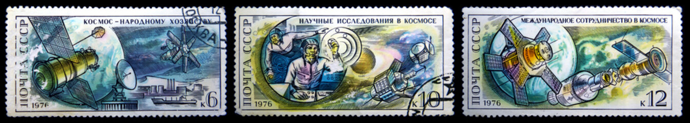 old postage stamp - satellite, cosmonauts and space exploration