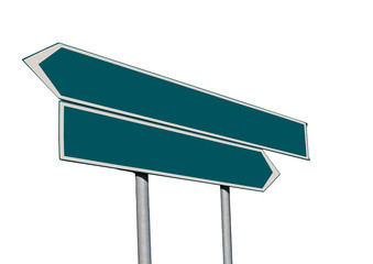 Double green signpost isolated