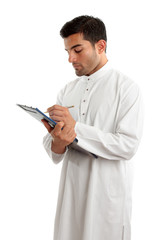 Professional arab man with clipboard folder