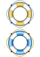Salvagenti azzurro e oro con corde