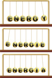 energy in foreign languages - newton`s cradle poster