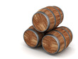 image of the old oak barrels on a white background