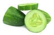 Sliced cucumber over white background