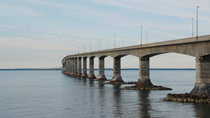 Confederation bridge links New Brunswick and PEI.