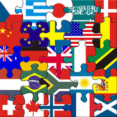 Jigsaw pieces showing flags of the globe
