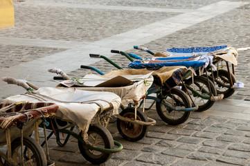 Row of wheelbarrows at the Doha souq