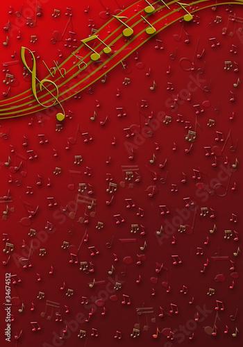 Fondo note musicali rosso