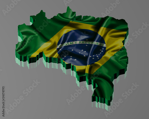 Brazililian  map with brazilian flag