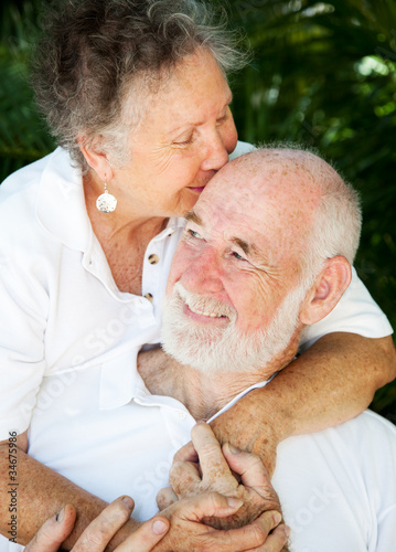 Senior Couple - Kiss for Husband