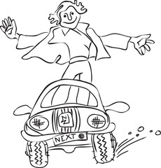 A young man riding in a car while standing. Contour drawing.