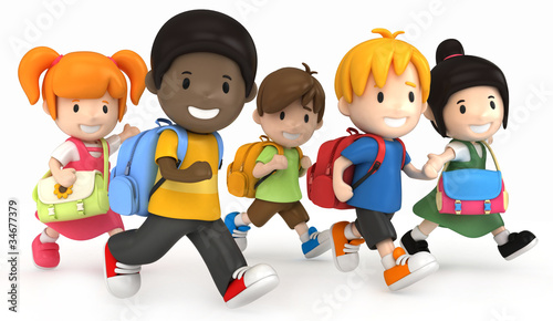 3D render of School Kids Running