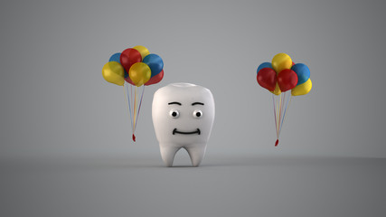 dente cartoon personaggio dentista 3d