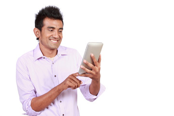 Attractive man with touchpad