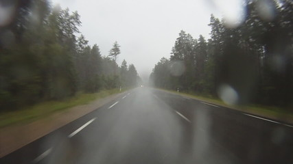 driving in the rain, rear view