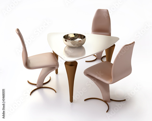 3D Modern Table and Chairs in  Plastic