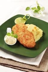 Fried fish and mashed potato