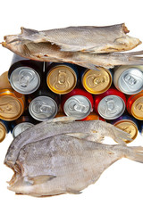 Dried fish and beer on a white background.