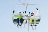 Ski lift - family  on ski