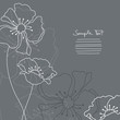 Mourning Card Grey Flowers