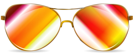 abstract golden sunglasses isolated on white background