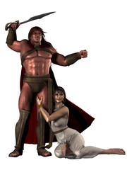 Fantasy barbarian warrior with female companion