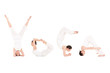 "Young woman doing yoga exercise. Word ""YOGA"""