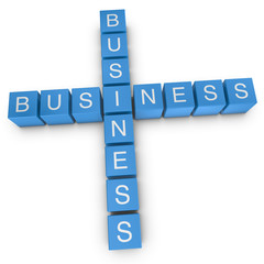 Business-to-business 3D crossword on white background
