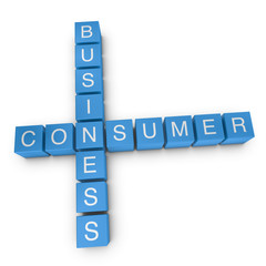 Business-to-consumer 3D crossword on white background