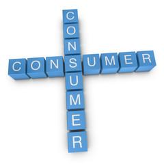 Consumer-to-consumer 3D crossword on white background