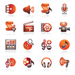 Audio video web icons. Black and red series.