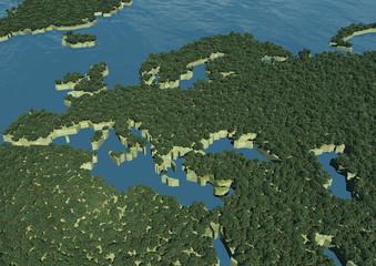 Cartina Europa bosco verde alberi