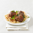 spaghetti and meatballs with copyspace composition.