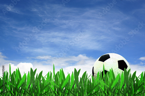soccer ball on grass with blue sky