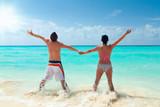 Happy couple on holidays at Caribbean Sea