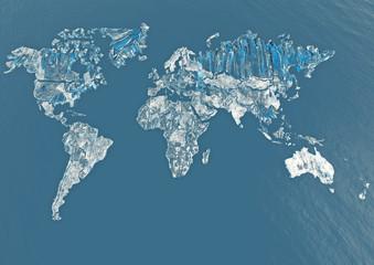 Planisfero mondo ghiaccio vetro