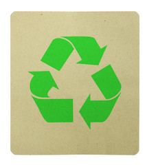recycle symbol on a recycle paper isolated