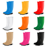 Colored rain boots vector set