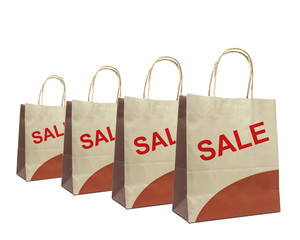 shopping bags with the word sale isolated on white