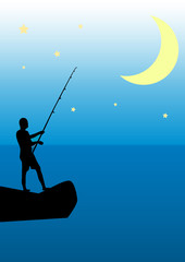Night fishing from the rocks on the background of the Moon
