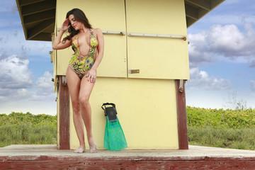 Body-paint swimsuit on the beach