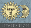 Vector illustration of Moon and Sun with faces( Invitation card)