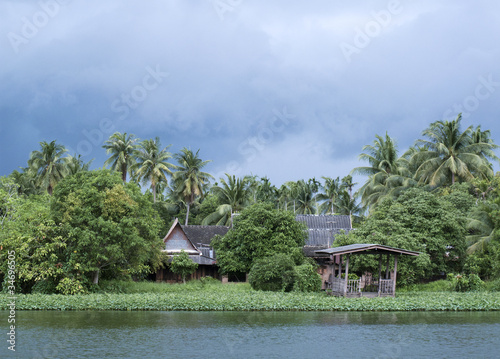 river house during monsoon in thailand
