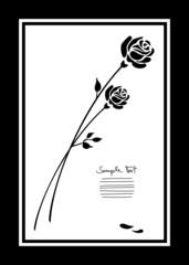 Mourning Card 2 Black Roses